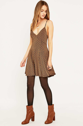 Women's Brown Print Skater Dress, Tobacco Leather Ankle Boots, Black Tights