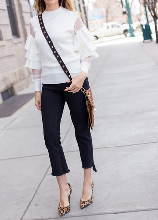 How to wear: black studded leather crossbody bag, brown leopard suede pumps, black fringe jeans, white ruffle long sleeve blouse
