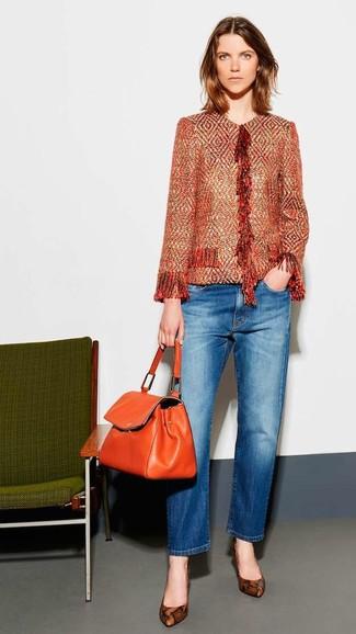 How to wear: orange leather satchel bag, brown snake leather pumps, blue jeans, orange tweed jacket
