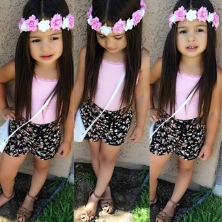 How to Wear Brown Sandals For Girls: Suggest that your little girl team a pink tank top with black shorts for a laid-back yet fashion-forward outfit. Brown sandals are a savvy choice to complement this getup.