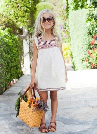 How to wear: brown sandals, white embroidered dress