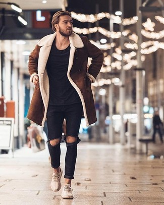 Men's Brown Shearling Jacket, Black Crew-neck T-shirt, Black Ripped Jeans, Beige Athletic Shoes