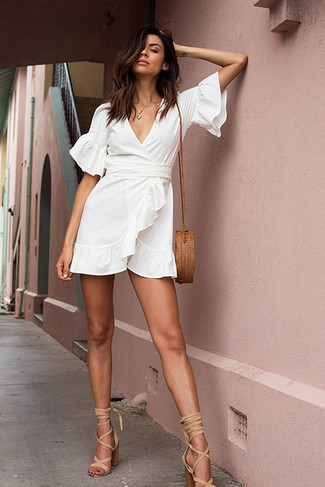 How to wear: brown straw crossbody bag, beige suede heeled sandals, white wrap dress