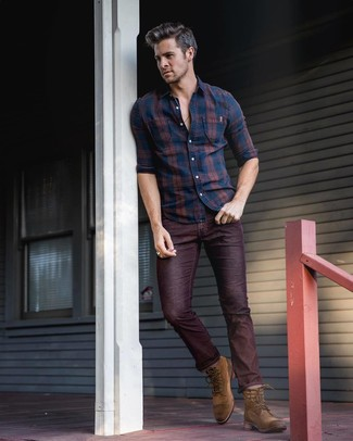 How to wear: brown suede casual boots, burgundy jeans, navy plaid long sleeve shirt
