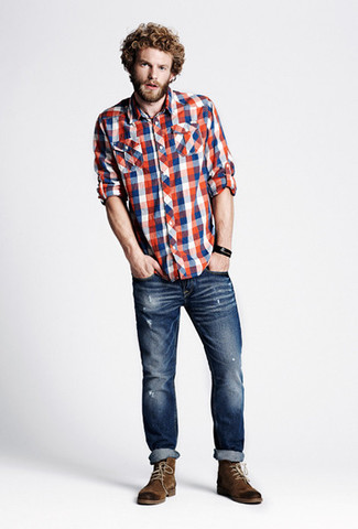 How to wear: brown suede casual boots, navy ripped skinny jeans, white and red and navy gingham long sleeve shirt