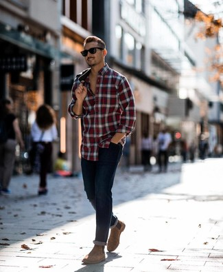 How to Wear Dark Brown Suede Chelsea Boots For Men: For a look that's super simple but can be modified in a multitude of different ways, opt for a red plaid long sleeve shirt and navy jeans. Complement your outfit with a pair of dark brown suede chelsea boots for a hint of class.