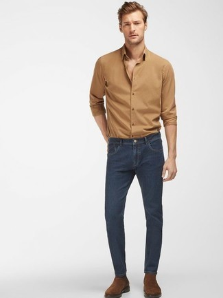 How to Wear Brown Suede Chelsea Boots For Men: For a casually stylish look, marry a tan long sleeve shirt with navy jeans — these two pieces go really well together. Take your getup down a more sophisticated path by wearing a pair of brown suede chelsea boots.