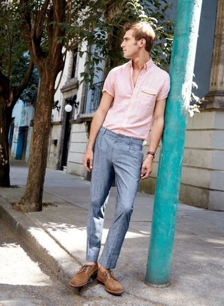 How to wear: brown suede derby shoes, light blue dress pants, pink short sleeve shirt