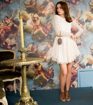 How to wear: brown suede heeled sandals, white pleated lace casual dress