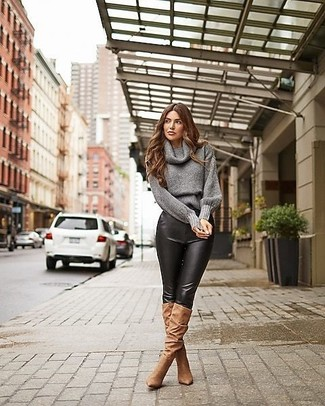 How to Wear a Charcoal Cowl-neck Sweater For Women: You'll be amazed at how easy it is to pull together this laid-back look. Just a charcoal cowl-neck sweater and black leather skinny pants. And if you need to immediately polish up this outfit with one piece, why not complement this look with a pair of brown suede knee high boots?