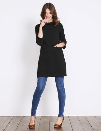 How to wear: brown leopard suede pumps, blue skinny jeans, black sweater dress