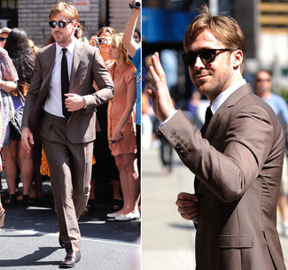Ryan Gosling wearing Brown Suit, White Dress Shirt, Burgundy Leather Derby Shoes, Black Tie