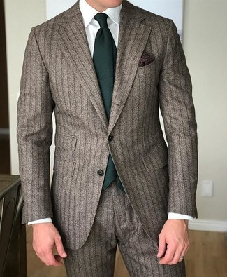 How to wear: brown vertical striped suit, white dress shirt, dark green tie, dark brown print pocket square