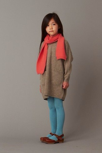 How to wear: brown sweater dress, brown ballet flats, red scarf, aquamarine tights