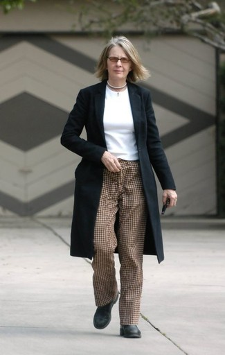 How to wear: black leather ankle boots, brown check tapered pants, white long sleeve t-shirt, black coat