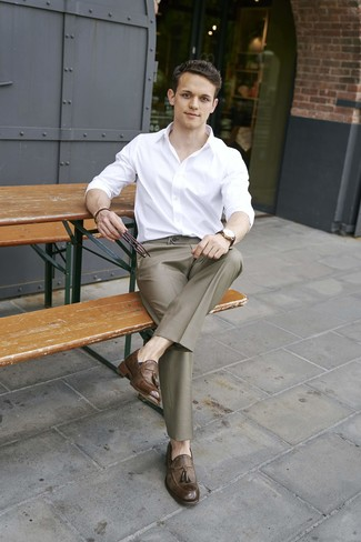 How to wear: dark brown leather watch, brown leather tassel loafers, brown dress pants, white long sleeve shirt