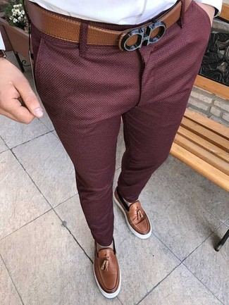 Men's Brown Leather Belt, Brown Leather Tassel Loafers, Burgundy Chinos, White Dress Shirt