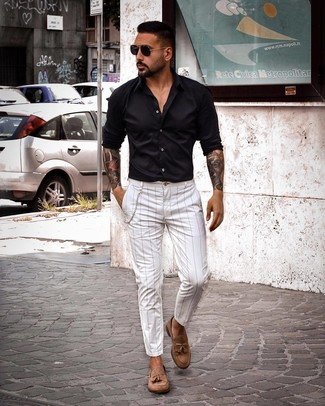 How to wear: black sunglasses, brown suede tassel loafers, white vertical striped chinos, black long sleeve shirt