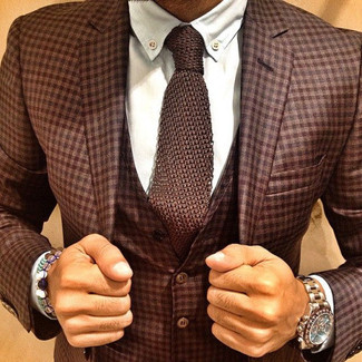 How to wear: brown plaid three piece suit, white dress shirt, brown knit tie, gold watch