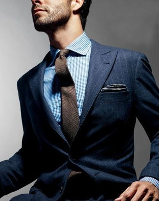 How to wear: charcoal pocket square, brown plaid wool tie, white and blue dress shirt, navy vertical striped blazer