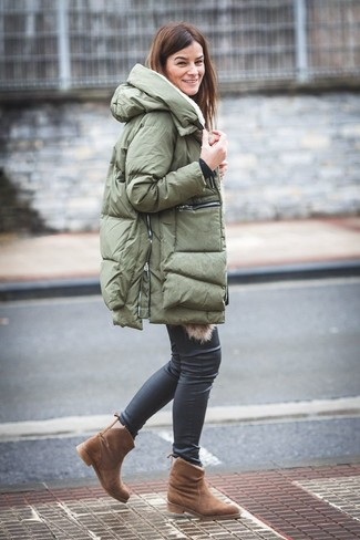 How to wear: brown uggs, black leather skinny jeans, olive puffer coat