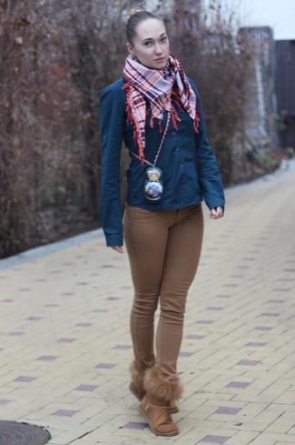How to wear: orange plaid scarf, brown uggs, brown skinny jeans, navy dress shirt