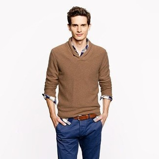 How to wear: brown v-neck sweater, white and navy plaid long sleeve shirt, navy chinos, brown leather belt