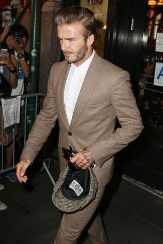 David Beckham wearing Brown Wool Suit, White Dress Shirt, Brown Herringbone Flat Cap