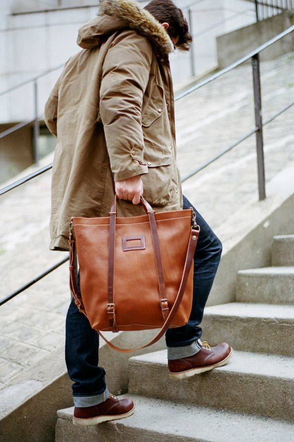 Men S Brown Leather Tote Bag Brown Leather Work Boots Navy Jeans