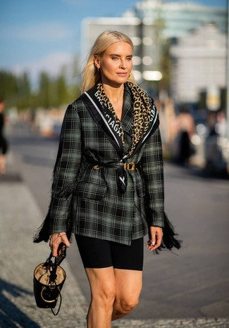 How to wear: black leather waist belt, black leather bucket bag, black bike shorts, black and white plaid double breasted blazer