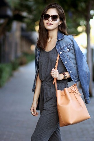 How to wear: dark brown leopard sunglasses, tan leather bucket bag, charcoal jumpsuit, blue denim jacket