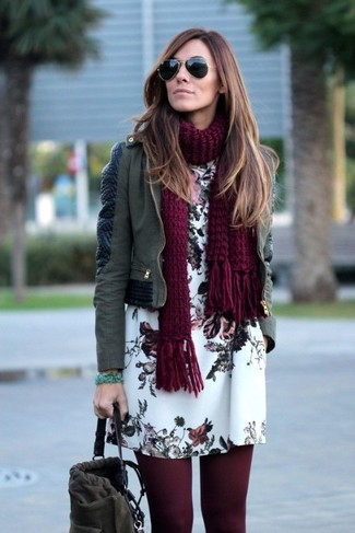 How to wear: burgundy knit scarf, charcoal suede bucket bag, white floral shift dress, olive leather biker jacket