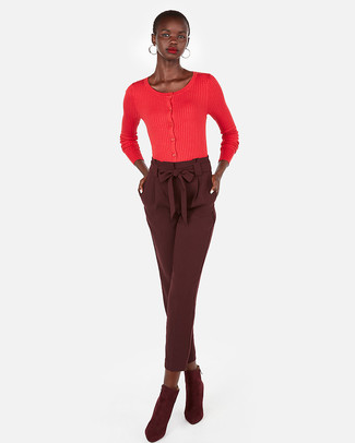 How to wear: gold earrings, burgundy suede ankle boots, burgundy tapered pants, red cardigan