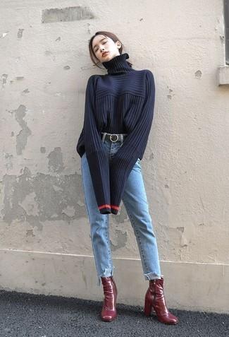 How to wear: black leather belt, burgundy leather ankle boots, light blue jeans, navy knit turtleneck