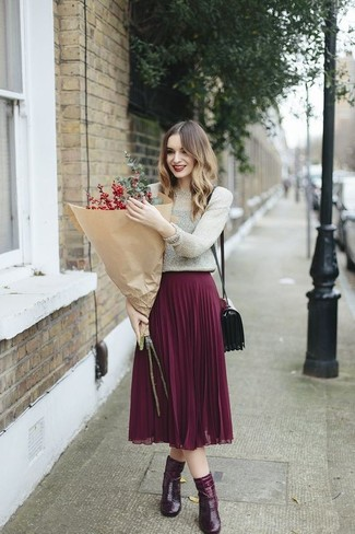 How to wear: burgundy leather crossbody bag, burgundy leather ankle boots, purple pleated midi skirt, silver crew-neck sweater