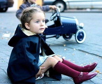 How to Wear Burgundy Ballet Flats For Girls: Consider dressing your mini fashionista in a navy trench coat with light blue dress for an elegant, fashionable look. This look is complemented really well with burgundy ballet flats.