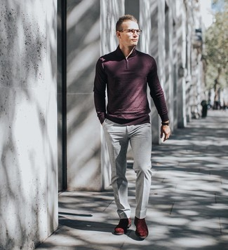 How to wear: black leather watch, burgundy suede chelsea boots, grey dress pants, burgundy zip neck sweater
