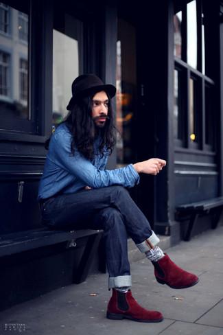 1309a8fe4 Men's Black Wool Hat, Burgundy Suede Chelsea Boots, Navy Jeans, Blue ...