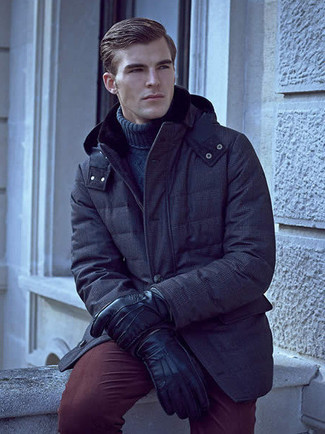 How to wear: black leather gloves, burgundy chinos, navy knit turtleneck, navy parka