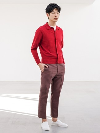 How to wear: white slip-on sneakers, burgundy chinos, white crew-neck t-shirt, red cardigan