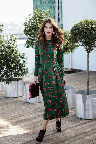 How to Wear an Olive Floral Midi Dress: Make an olive floral midi dress your outfit choice for comfort dressing with a fashionable spin. Complement this look with a pair of burgundy leather lace-up ankle boots for extra style points.