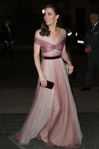 How to wear: clear earrings, burgundy velvet clutch, silver leather pumps, pink tulle evening dress