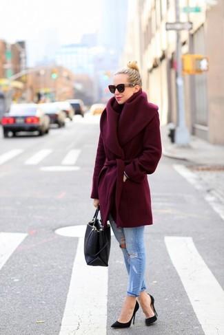 How to wear: burgundy coat, light blue jeans, black pumps, black tote bag