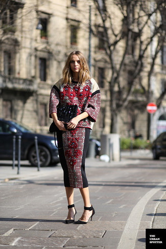 How to wear: burgundy embroidered crew-neck sweater, burgundy embroidered midi skirt, black suede pumps, black embroidered suede clutch