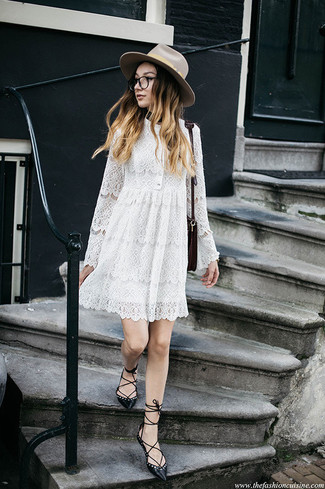 How to wear: beige wool hat, burgundy leather crossbody bag, black leather ballerina shoes, white lace swing dress