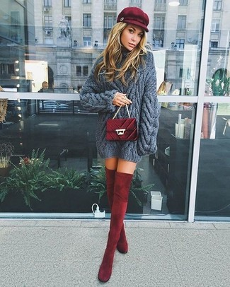 How to wear: burgundy flat cap, burgundy quilted velvet crossbody bag, burgundy velvet over the knee boots, charcoal knit cable sweater