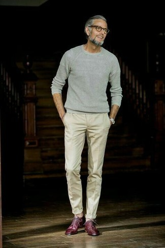 How to wear: silver watch, burgundy leather derby shoes, beige dress pants, grey crew-neck sweater