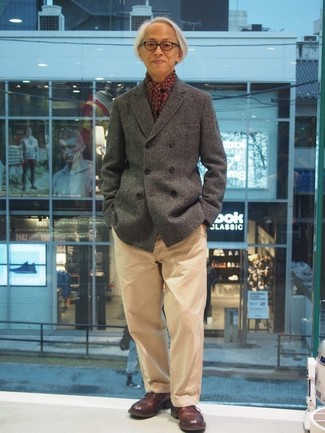 How to wear: burgundy print scarf, burgundy leather derby shoes, khaki chinos, grey pea coat