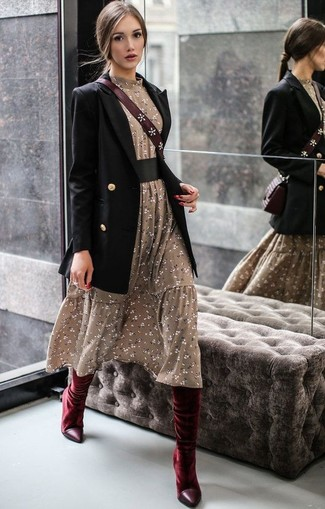 How to wear: burgundy leather crossbody bag, burgundy velvet knee high boots, olive floral midi dress, black double breasted blazer