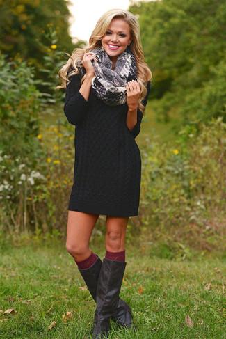 How to wear: grey plaid scarf, burgundy knee high socks, black leather knee high boots, black sweater dress